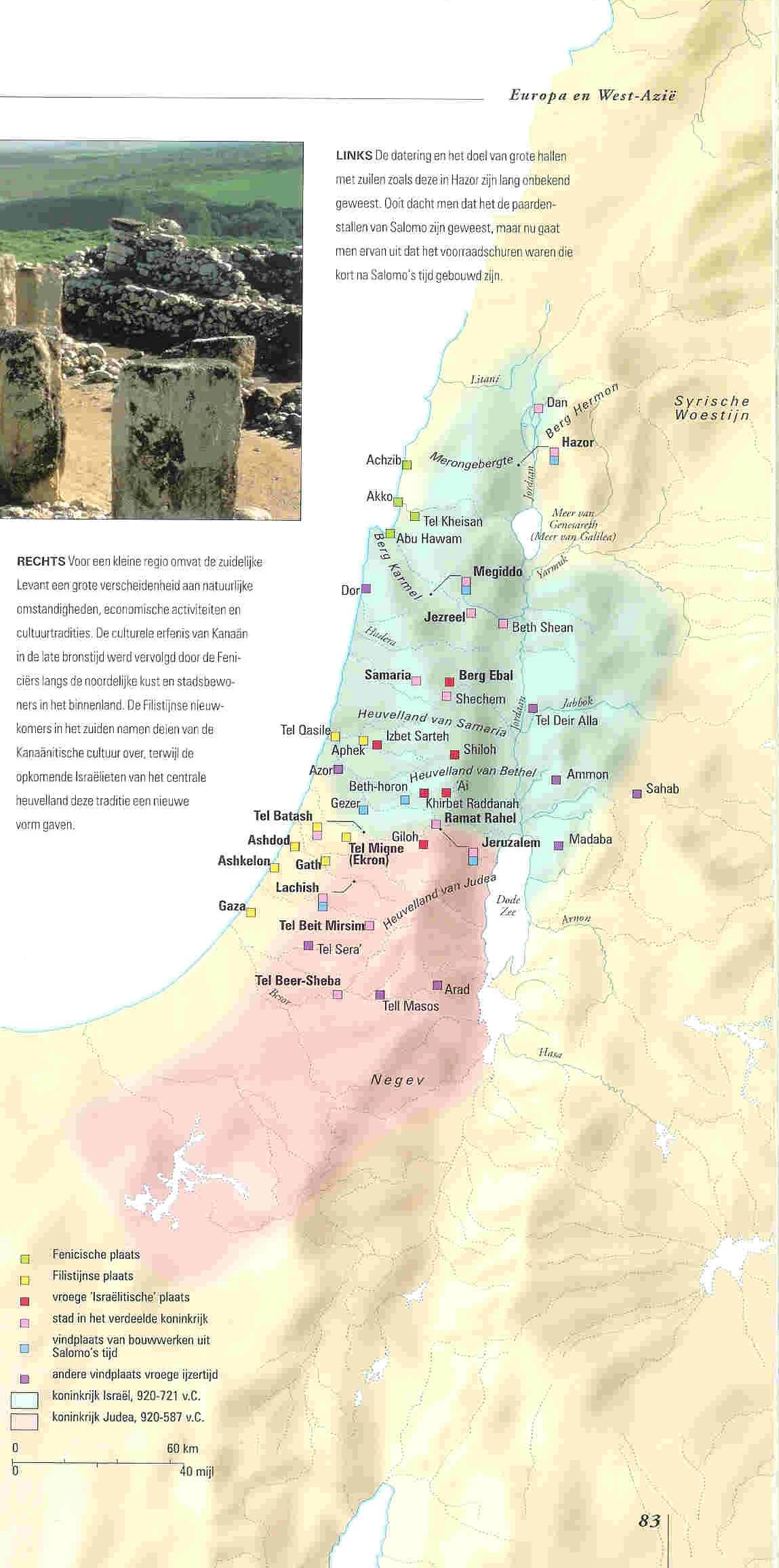 Kaart Israël met koningstijd.