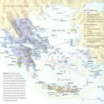 Kleurenkaart Griekenland (let op Griekse steden aan de kusten van het huidige Turkije).