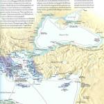 1 kleurenkaart Griekenland en koloniën, wereldatlas van de archeologie, 91