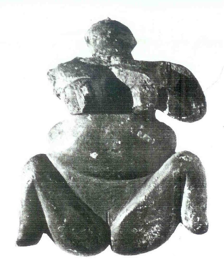 Jonge en barende Vrouwe uit Hacilar in kikkerkhouding. Schets, van Venus tot Madonna, 123.
