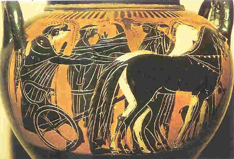 Het Huwelijk tussen Hera en Zeus. Beschilderde vaas uit de 5e eeuw v. Chr. De inheemse Hera is ouder dan Zeus. Hij wordt de vadergod van patriarchaal georganiseerde Grieken die vanaf 2100 v. Chr. het voor-Griekse land binnen vallen, van Venus tot Madonna, 305. Het acculturatie-proces wordt in de mythe uitgedrukt in de vele huwelijken  die Zeus sluit en de vele seksuele relaties die hij aangaat. In de ogen van Hera zijn het 'slippertjes'. Het huwelijk met Zeus brengt Hera niet veel geluk. van Venus tot Madonna, 333.
