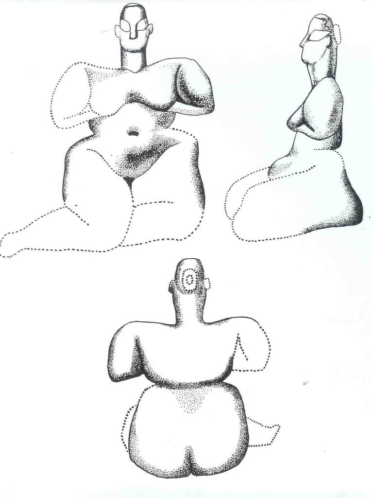 Zittende Vrouwe van Hacilar die beide borsten toont. Laag VI huis Q5. Schets. Van dit type zijn 26 exemplaren gevonden. Het is dus een geliefd thema van de kunstenaressen. Het is een verhouding van een op drie. Ze lagen tussen het graan.