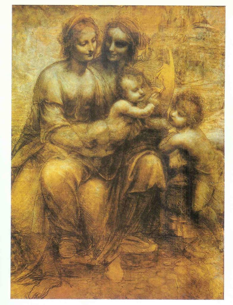 'Madonna met kind'. Leonardo da Vinci. Afgebeeld zijn (Groot)Moeder Anna, Moeder Maria en het kind Jesus.