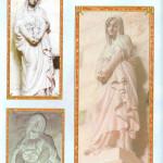 Maria Magdalena. Zij houdt de zalfpot of graal tegen haar zwangere buik. Is zij zwanger van een dochter Sara? Beeldhouwwerk van Charles Desvergnes (1860-1928) in de Basiliek van La Madeleine in Vezelay in Frankrijk.