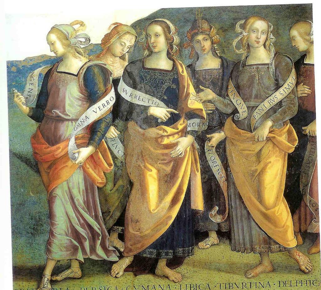 Sibilles. Fresco van Perugino (1425-1523). Palazzo dei Priori in Perugia in Italië.   Zes sibilles worden afgebeeld: de Erytrese, de Perzische, de Cumaese, de Libische, de Tiburtijnse en de Delfische.