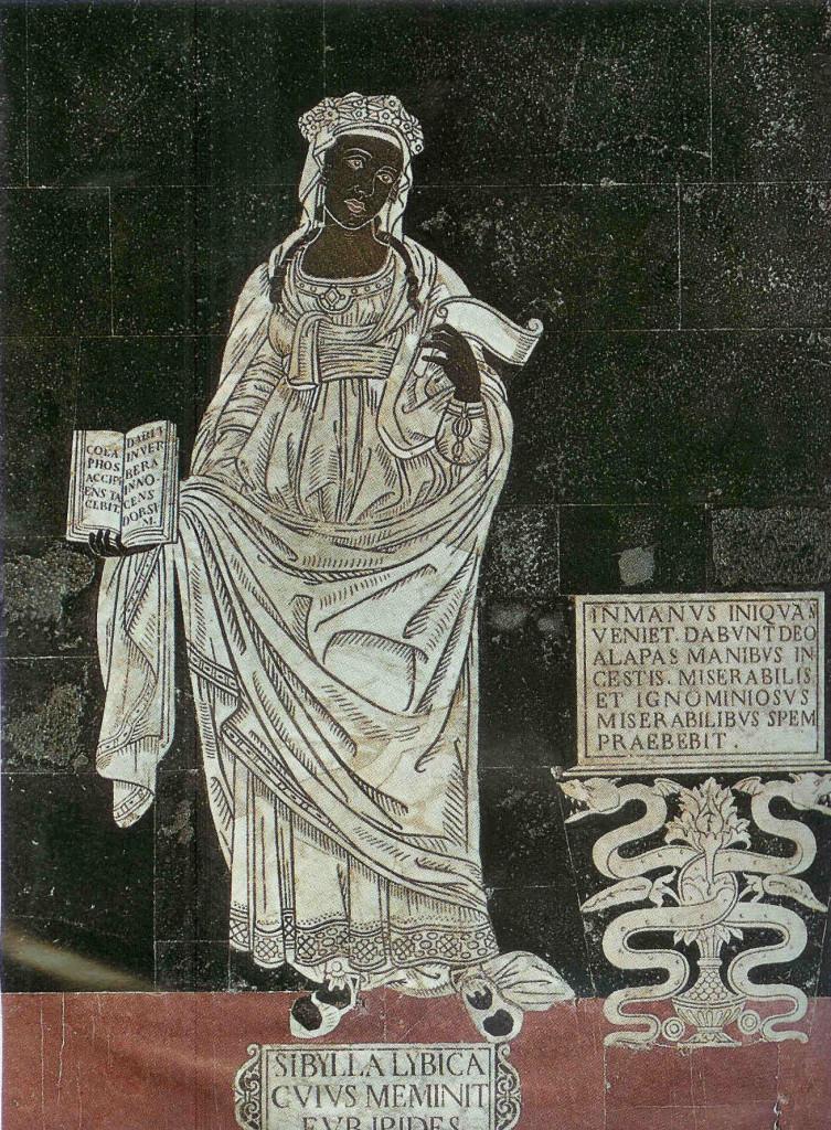 Sibille uit Libië. Plaveisel van de kathedraal van Siena. Totaal zijn er tien sibilles afgebeeld.