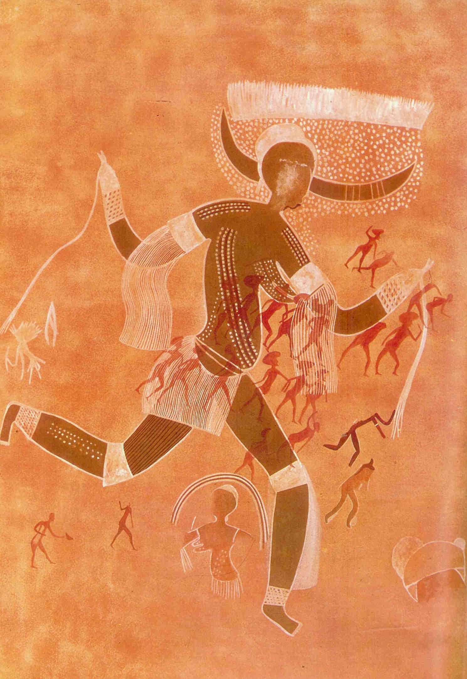 'De Witte dame'. Vruchtbaarheidsgodin uit Aouanrhet. Met hoorns en tarweveld op haar hoofd. Herderscultuur van 5000-1200 v. Chr. 110cm. Tassili N' Ajjer, Algerije.