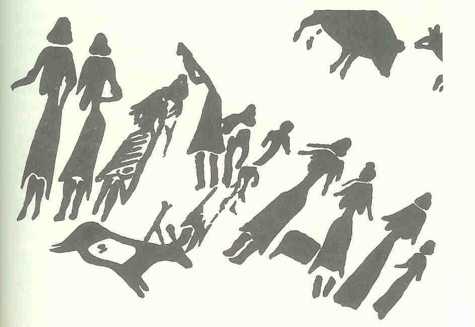 Twintig vrouwen dansen om jongen. Cogul-grot, Barranco de los Grajos, Spanje. Oude Steentijd.