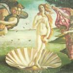 Aankomst van Afrodite op een schelp, Botticelli.
