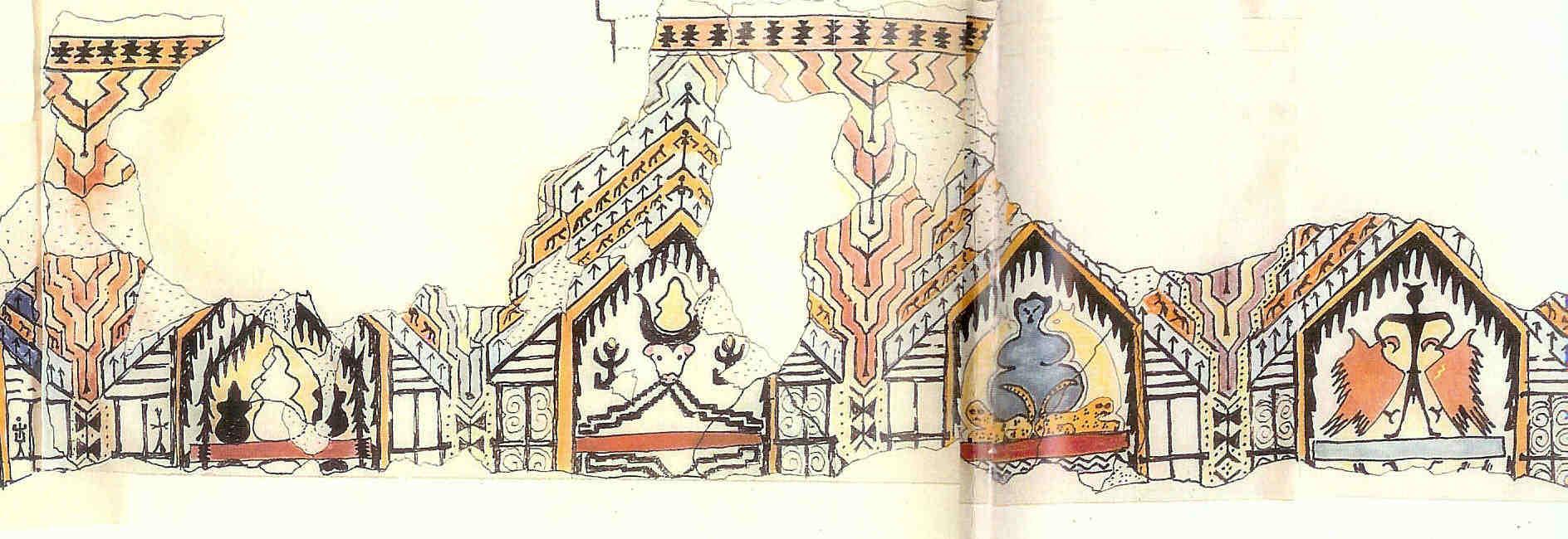 Priester houdt gieren vast. Laag A III heiligdom 11 op de noordmuur. Mellaart, Excavations at Hacilar, 84.