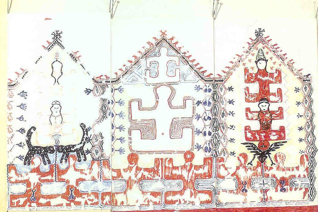 Godin baart op muurschildering. Fresco uit laag E VIA heiligdom 34.