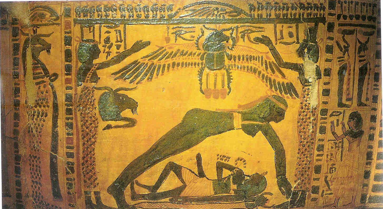 Noet verenigt zich met Geb. houten sarcophaag. Nieuwe Rijk. 21e dynastie uit Turijn.