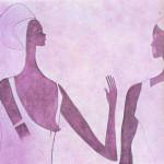 Tassili-Meisjes. Steentijd in Afrika. Zij hebben hun huid met rode oker bewerkt. Zij dragen witte hoofddeksels en jurken.