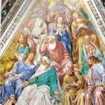 'Aartsmoeders- en  vaders'. Het onderschrift van de afbeelding luidt: 'De patriarchen of aartsvaders'. Fresco van Luca Signorelli uit de Dom van Orvieto. Gelukkig zien wij bij hoge uitzondering tussen de aartsvaders ook aartsmoeders aanwezig, van Venus tot Madonna, 382, 406.