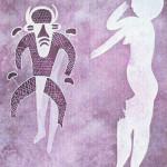 Witte of wit geschilderde Vrouwe. Steentijd. Zij kijkt naar gehoornde en gemaskerde figuur. Hij draagt driehoekige lendedoek.