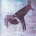 Barende Vrouwe. In rituele barende houding (aan linkerkant). Uit bergmassief Tassili n'Ajjer. Steentijd.