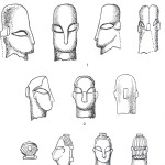 Schets van diverse gezichten, haardrachten en haarspelden. Schets zie van Venus tot Madonna, 122.