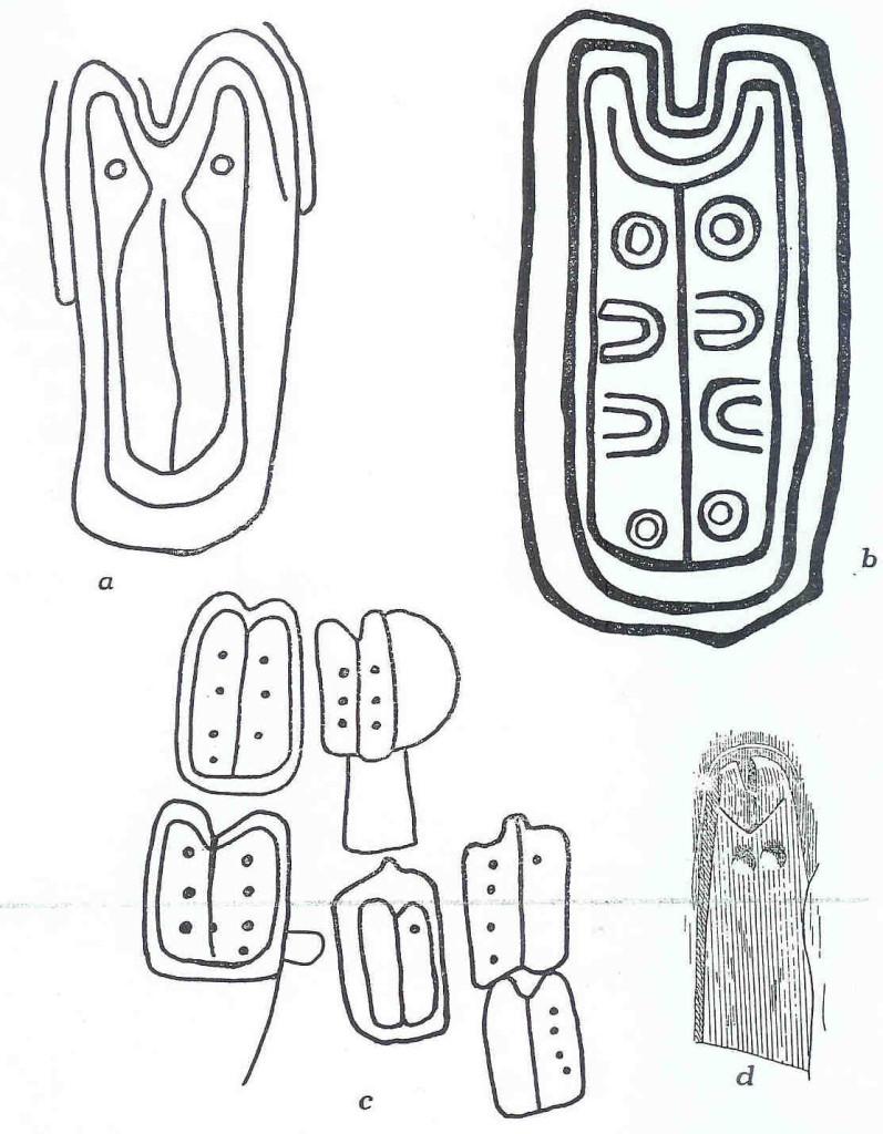Schetsen van Cephalopoden of stenen met gezichten erop uit aLuffang; b en c  Pierres; d Grot van Coizard.