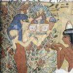 Hathor als godin van de Sycomore- of vijgenboom. Zij biedt Sennedjem geschenken aan. Tombe van Sennedjem. Deir el-Medinah. West-Thebe, Nieuwe Rijk.