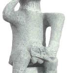 Viriele en ithyfallische god in jeugdfase uit de Dimini-cultuur in Noord-Griekenland, 4500 v Chr. zwart/wit.
