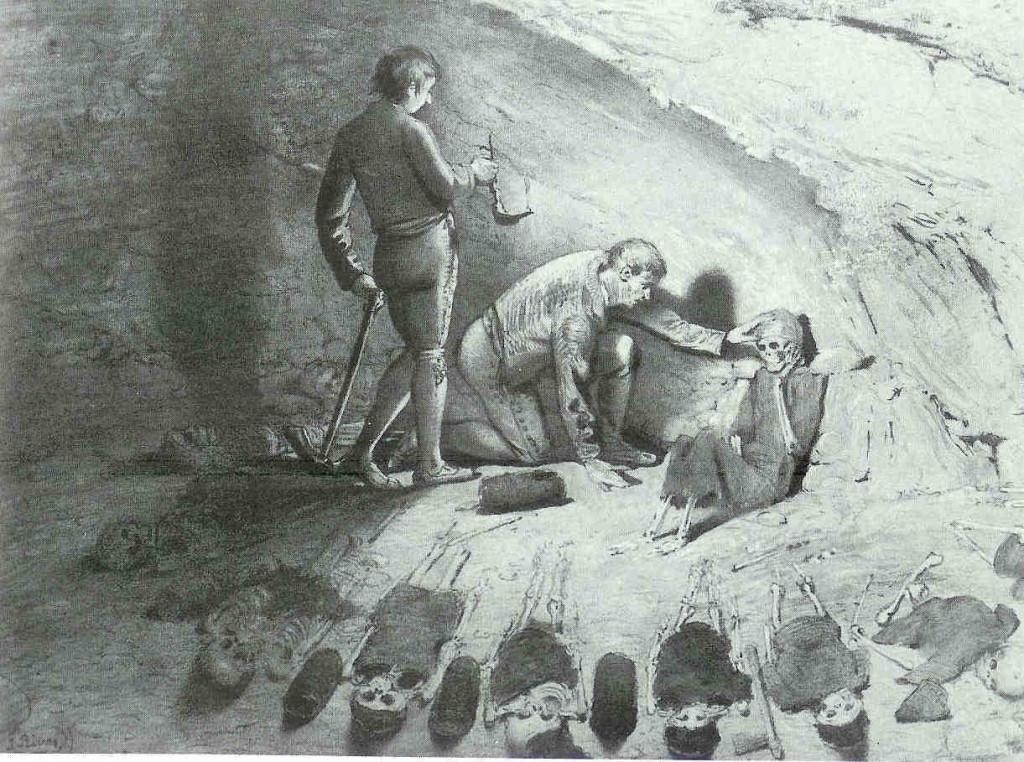 Groepsgraf in de Cueva de los Murciélagos. De Grot van de Vleermuizen. Kloof bij Granada in Zuid-Spanje, 4000 v. Chr. 'Koningin' en dienaressen dragen dierenhuiden, sandalen van gras en hebben manden bij zich waarin soms nog papaverzaden zitten.