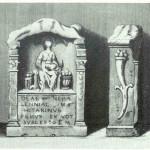 Nehalennia in schelpvormige nis op troon met op haar schoot een mand met fruit, van Venus tot Madonna, 16.