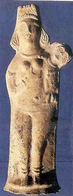 Naakte Madonna met kind. Symbolisch afgebeeld als de naakte Astarte of Isis met losse en doorzichtige sluier. Pella Jordanië, 6e eeuw na Chr.