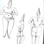 Jonge Vrouwe van Hacilar. Met spits toelopend hoofddeksel en paardenstaart. Speelt met luipaard, schets, van Venus tot Madonna, 122.