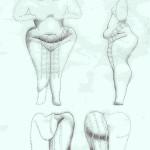 Vrouwe van Hacilar met gemaasde voorschoot. Schets, van Venus tot Madonna, 122.