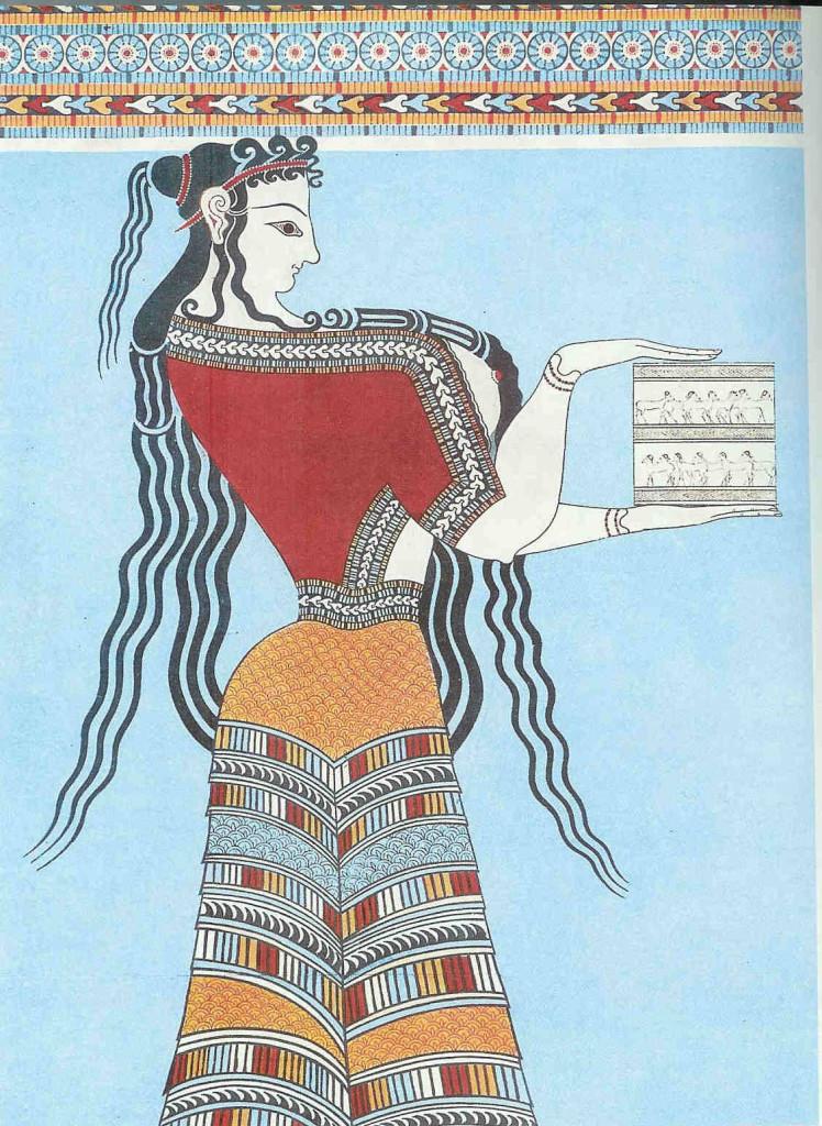 'De Vrouwe met de pyxis'. Zij maakt deel uit van de processie van de vrouwen. 13e eeuw v. Chr. Tiryns (een stad bij Mycene op de Peloponnesos).