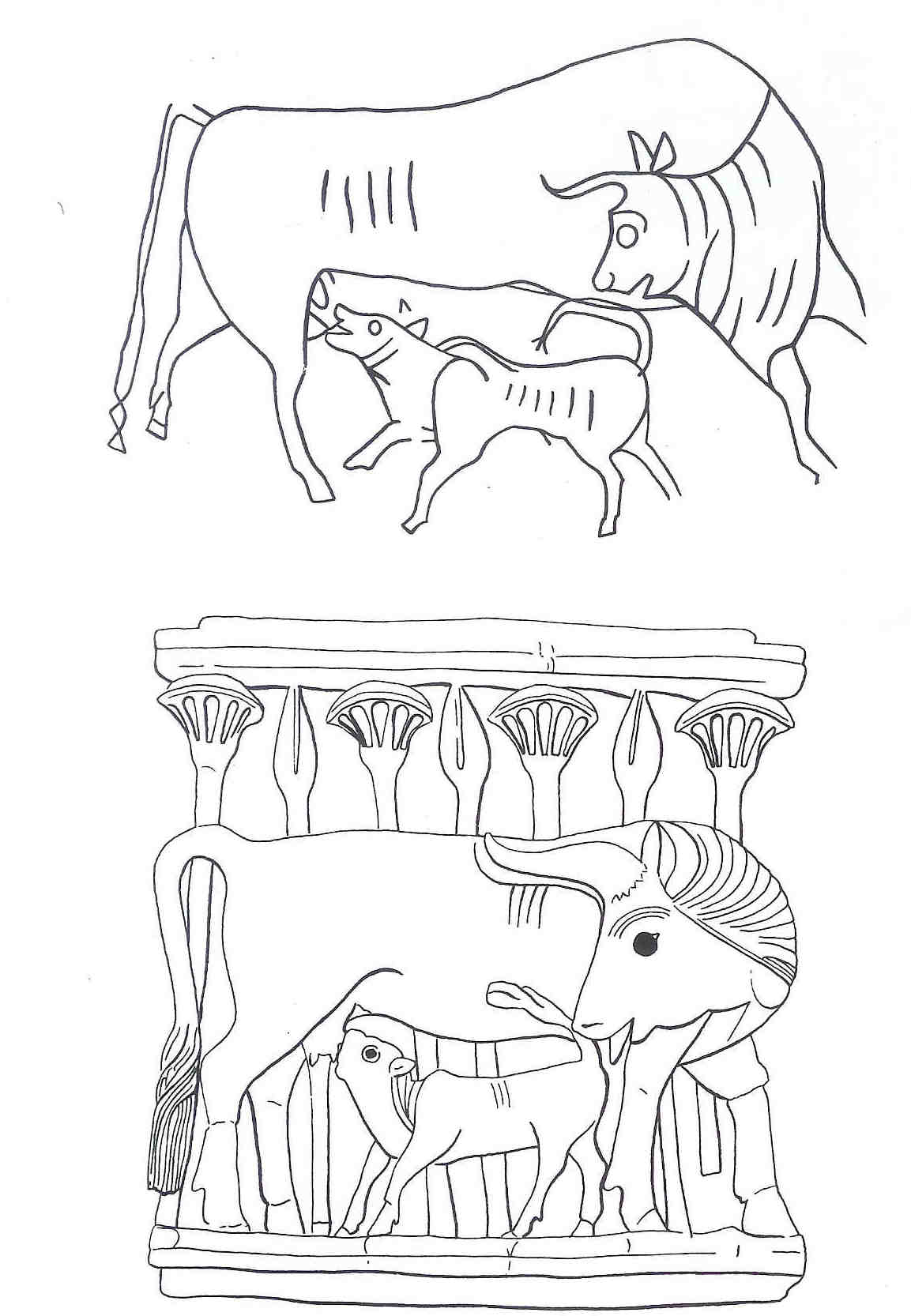 Schets. Onderste beeld is schets van bovenstaande afbeelding van heilige koe met haar kalf.