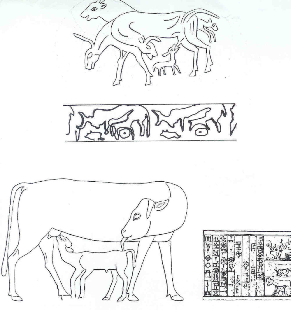 Het 'Koe-Kalf-motief'is een geliefd en veel voorkomend thema in de kunst van het Midden-Oosten.