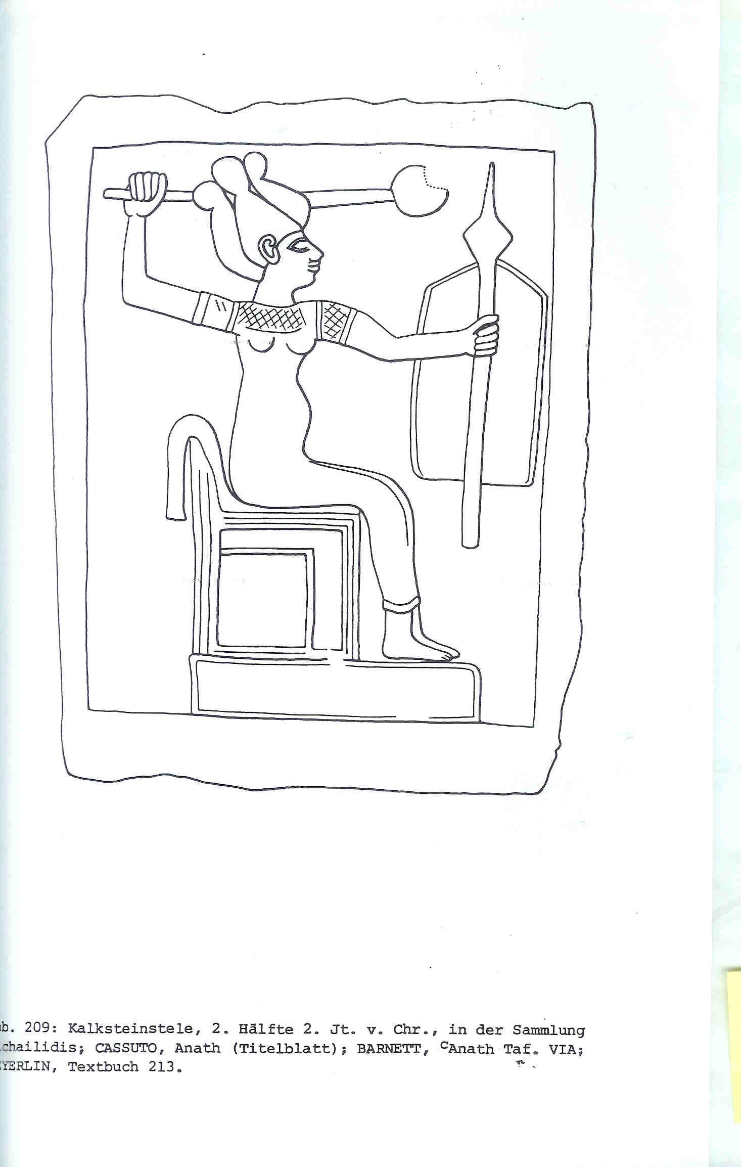 De strijdende godin Anat met knots en schild. Schets van bovenvermelde kalksteenstèle uit Kanaän. 1500 v Chr, van Venus tot Madonna, 287.