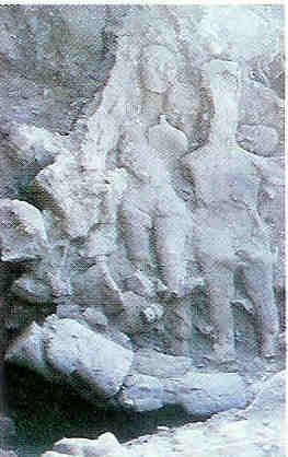 Vindplaats van (Stam)moedergodinnen zoals men ze in een van de drie bergplaatsen in 1983 aantreft.
