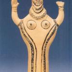 Godin uit Tiryns. (stad bij Mycene op de Peloponnesos). 12e eeuw. Catalogus spreekt van 'figurines'.