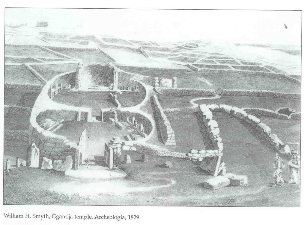 Ggantija-tempel archeologische afbeelding uit 1850.