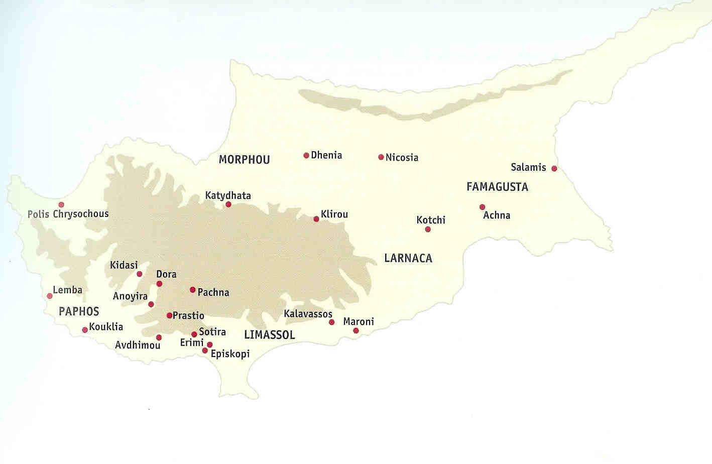 Kaart van vindplaatsen in antieke Cyprus.