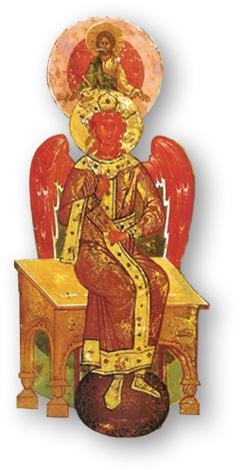 Over de afbeelding: Je ziet Sophia op een Russische ikoon uit de 16e eeuw uit de school van Novgorod. Zij draagt een kroon en zit op een troon in de hemel. Zij houdt een esoterische boekrol in haar hand. Zij is verbonden met Christus die achter en boven haar staat afgebeeld. Zij houdt een gesloten boekrol in de hand. Dit is het symbool van verborgen wijsheid. Haar vleugels brengen haar vanuit de hemel naar de aarde. Zij legt de verbinding en bekommert zich om haar kinderen op aarde. De kleuren van het moederland zijn de drie maankleuren wit-rood-zwart. In het vaderland overheerst de kleur zwart. In het mensenland worden de maankleuren aangevuld met paradijselijk goud. De basistinten op deze ikoon zijn wit-rood-zwart-goud.