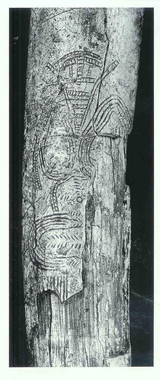 Schematische Vrouwe van Predmost. Op mammoettand gegraveerd. Oude Steentijd.