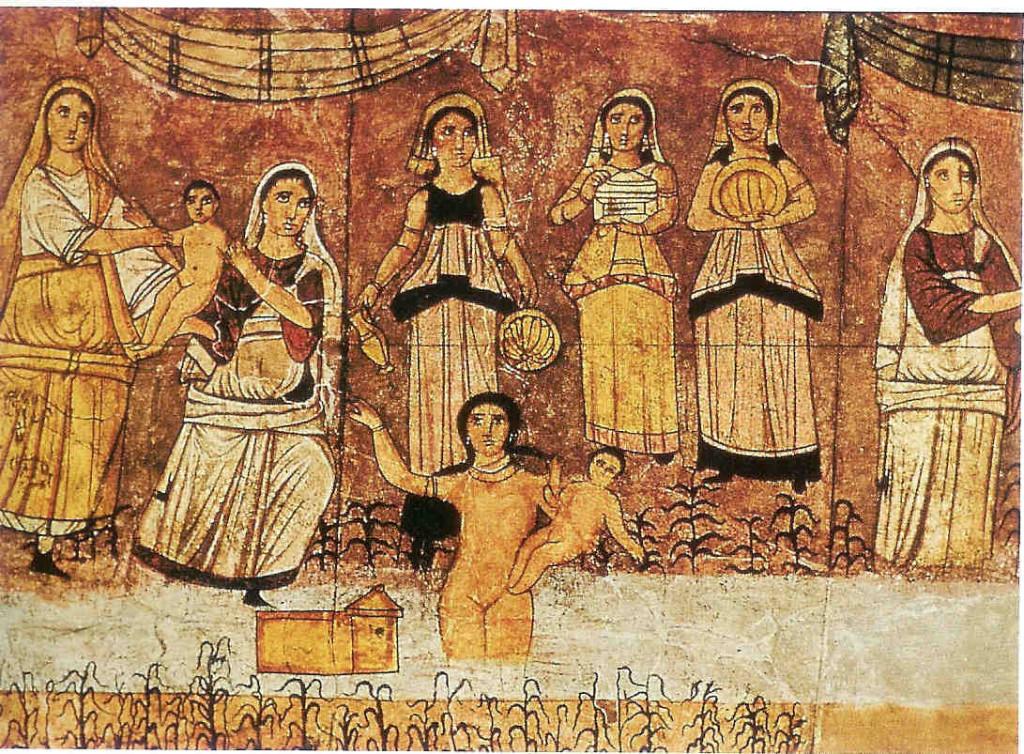 Shekina uit de synagoge van Doura Europos. Syrië, derde eeuw na Chr. Thans is de totale synagoge met fresco's waaronder dat van de Shekina-  in het Nationaal Museum in Damascus in Syrië te bezichtigen.
