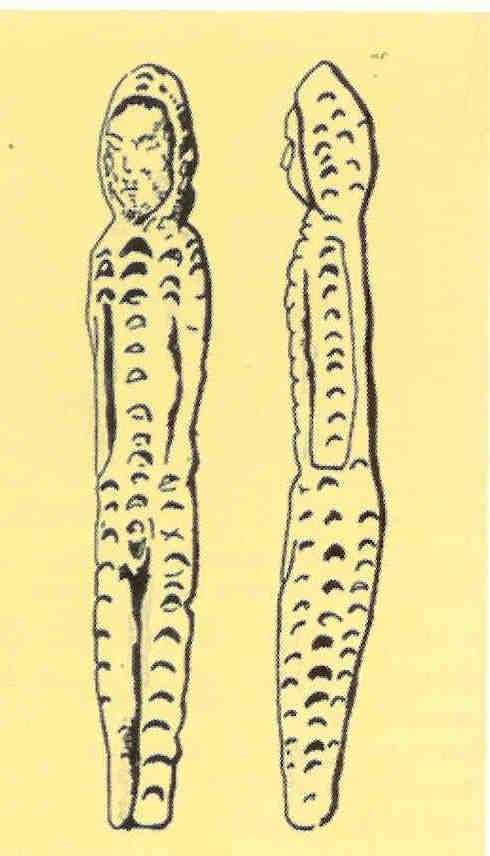 Oermoeder uit Bouret. Bezaaid met manen, Mal'ta- Bouret-cultuur. 24.000-22.000 v. Chr.
