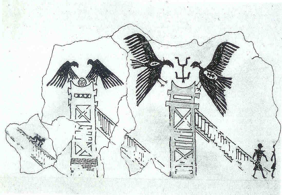Dodentorens. De lichamen van doden worden door gieren ontvleesd in de open lucht op torens. Schets van muurschildering laag E VIB heiligdom 3. Mellaart, Excavations at Hacilar, 60, van Venus tot Madonna,126.