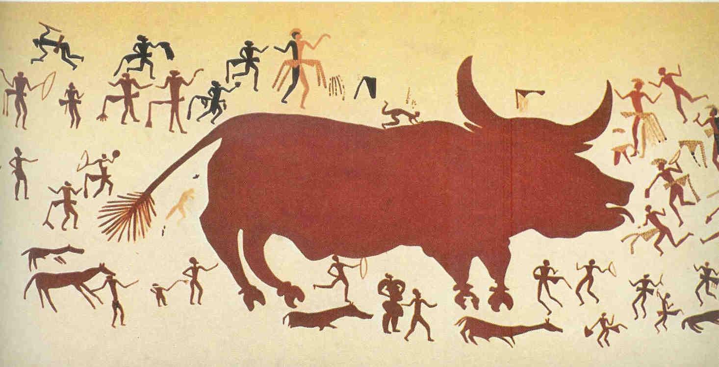 Schets van jachtfresco in heiligdom in laag III. Je ziet mannen in sierlijke gewaden met luipaardvel om jagen als ceremoniële bezigheid.