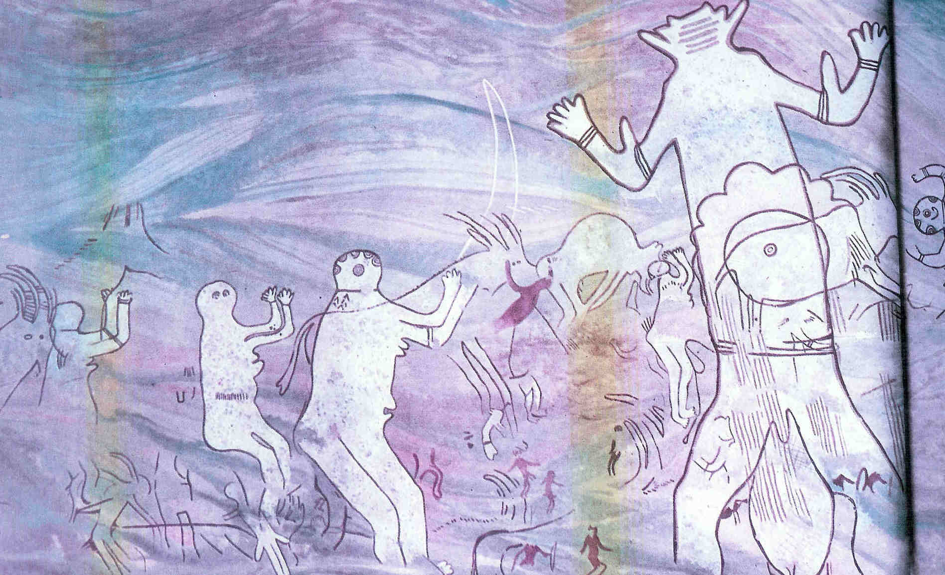 Links diverse Vrouwen met opgeheven armen. Zij neemt deel aan vruchtbaarheidsritueel met grote gemaskerde figuur. Helemaal rechts is het hoofd te zien van een barende Vrouwe. Zie volgende afbeelding voor haar gehele lichaam. Uit Tassili n'Ajjer. Steentijd.
