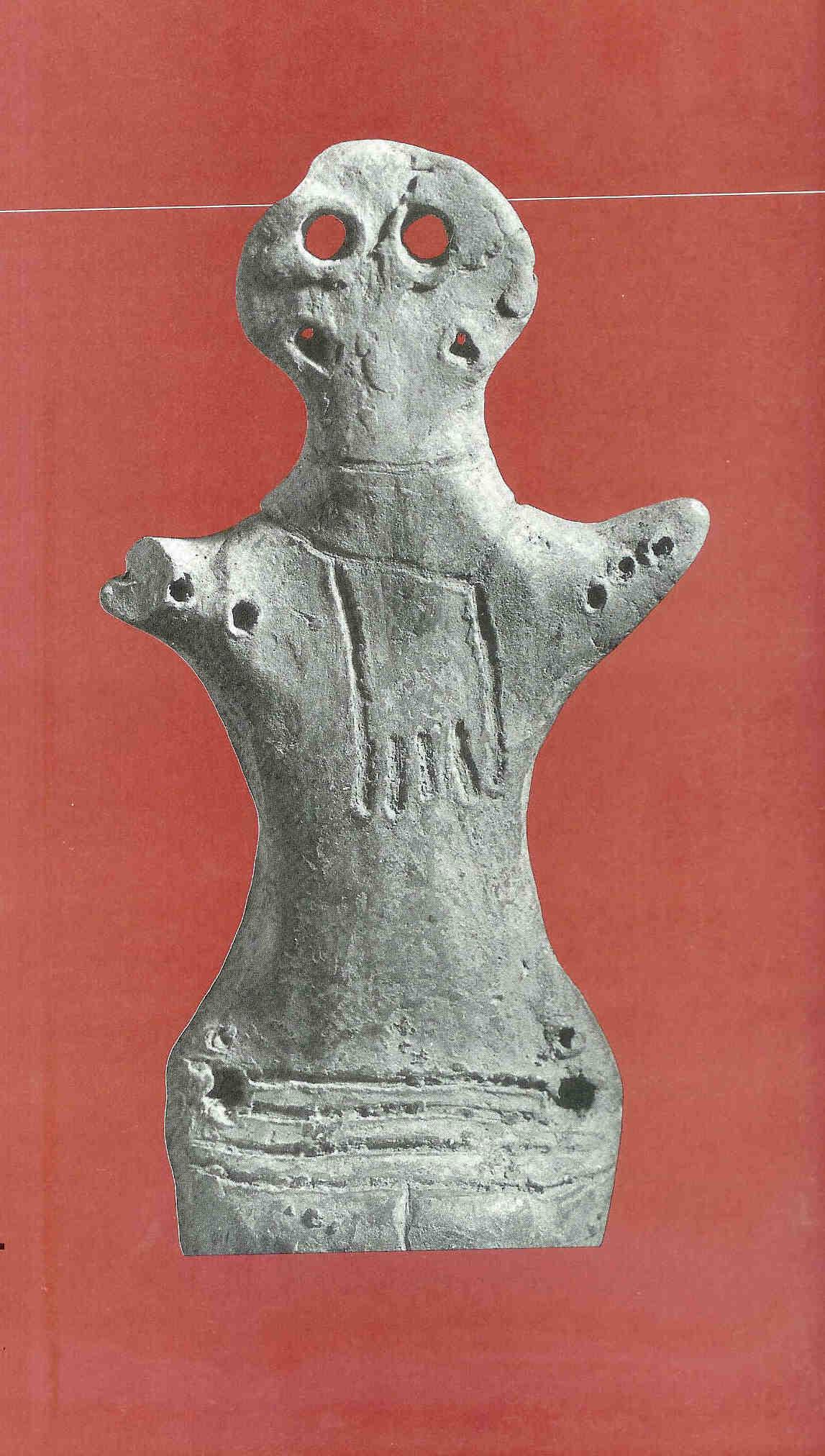 'Idool' van Cucuteni. Oekraïne ten noorden van Roemenië. 4000 v. Chr. in kleur.