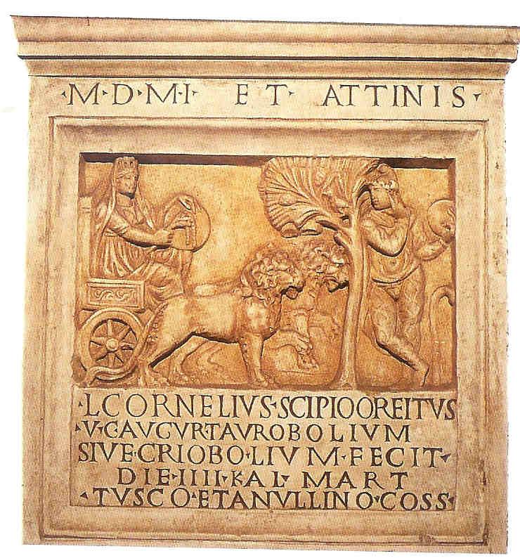 Kybèlè met haar wagen door leeuwinnen getrokkenen. Partner Attis leunt vermoeid tegen de levensboom aan, van Venus tot Madonna, 138.